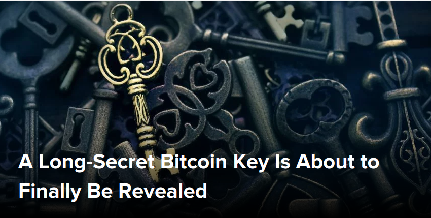 A Long-Secret Bitcoin Key Is About to Finally Be Revealed