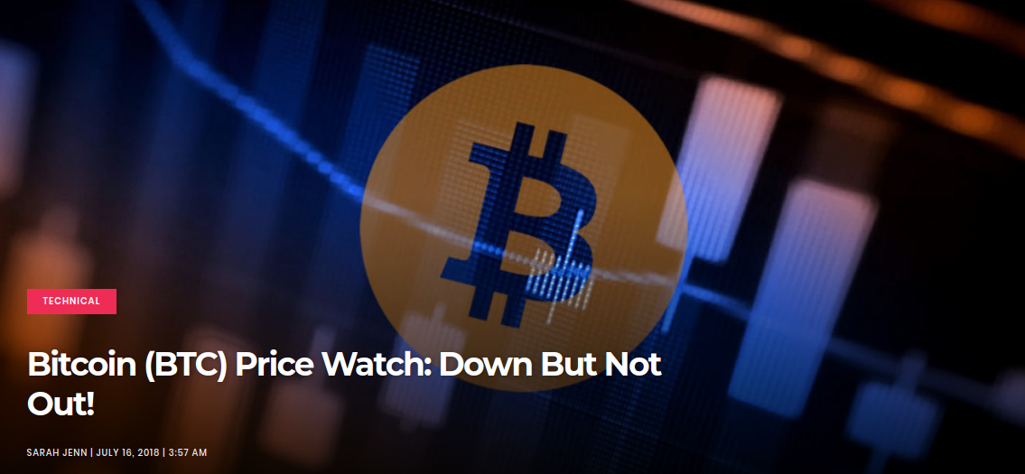 Bitcoin (BTC) Price Watch-  Down But Not Out