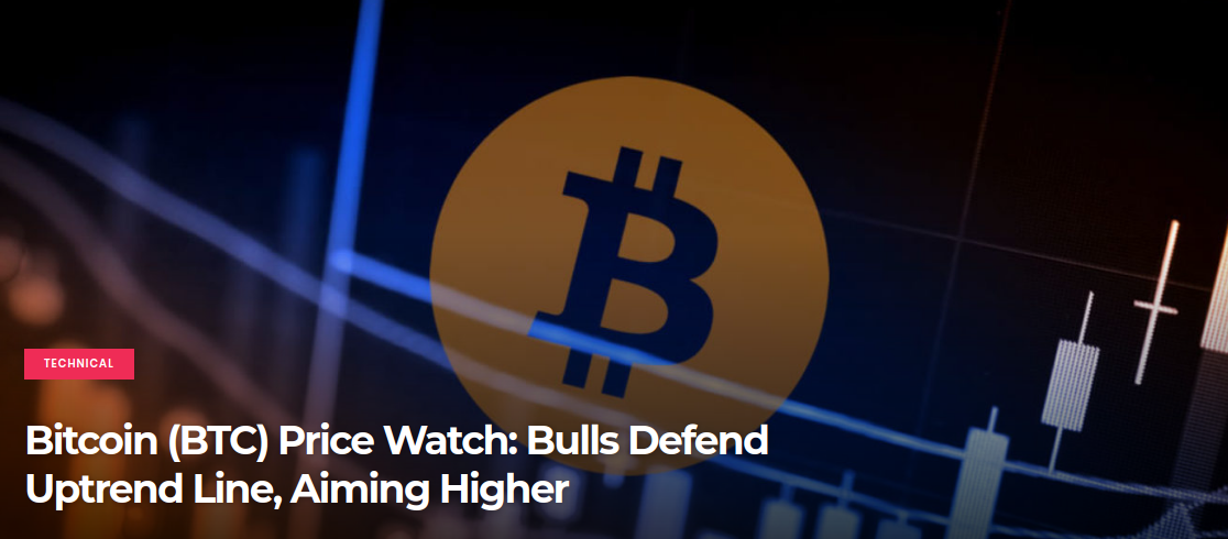 Bitcoin (BTC) Price Watch-  Bulls Defend Uptrend Line, Aiming Higher