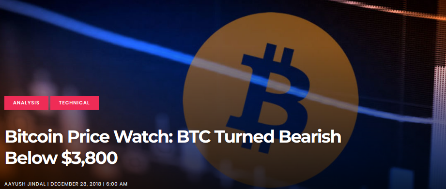 BTC Turned Bearish Below $3,800